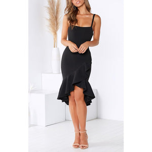 Sexy Spaghetti Strap Bodycon Trumpet Dress Women Elegant Backless Black Mid Dress Ladies Summer Dress