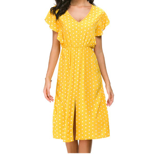 Polka Dot V-Neck A-Line Dress Women Split Short Sleeve Ruffles Mid Dress Ladies Summer Beach Dress