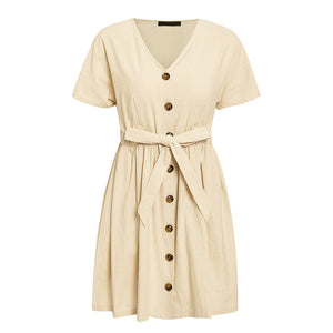 Vintage Button Sashes Mini Dress Shirt Women V-Neck Short Sleeve Cotton Linen Summer Dress Elegant Ladies A-Line Dress 2019 Robe