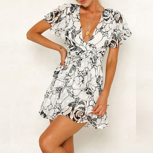 Sexy Deep V-Neck Short Sleeve Summer Chiffon Dress Elegant Women Floral Print Sashes Mini Dress Ruffles Women Beach Vestidos