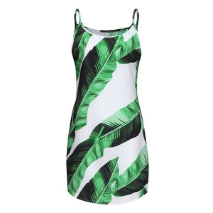 Tropical Palm Leaves Print Summer Dress Women Halter Sleeveless Mini Dress Ladies Off Shoulder Beach Dress Vetement Femme 2019