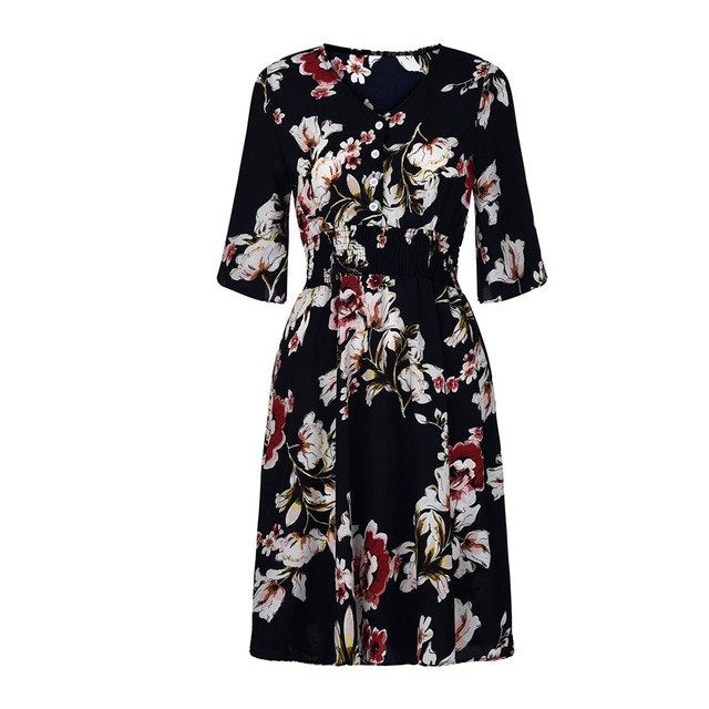 Vestidos 2019 Women's Dresses Spring Summer Dress Women's Fashion Casual Printed Buckle Round Neck Female Dress