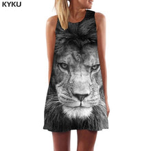 KYKU Brand Tiger Dress Women Galaxy Space Vestido Sexy Animal Boho Earth Korean Style Art Office Womens Clothing Summer Gothic