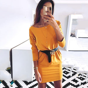 2019 Spring Summer Fashion Ladies Sexy Elegant Bag Hip Dress Women's Solid O-neck Sheath Bodycon Party Dresses Casual Vestidos