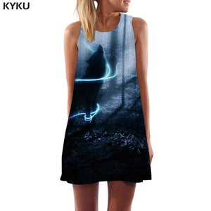 KYKU Brand Wolf Dress Women Moon Beach Animal Party Mountain Vestido Sexy Sky Sundress Womens Clothing Summer New Cool