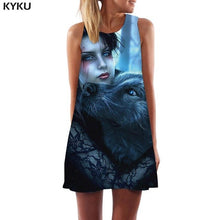 KYKU Brand Wolf Dress Women Animal Sexy Cartoon Korean Style Beauty Boho Fruit Party Womens Clothing Summer Gothic Cool Femme