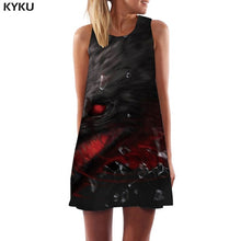 KYKU Wolf Dress Women Forest Office Animal Tank Lightning Beach Black Short Womens Clothing Casual Gothic Large Sizes