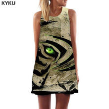 KYKU Tiger Dress Women Forest Short Animal Office Cloud Korean Style Colorful Ladies Dresses Womens Clothing Vintage