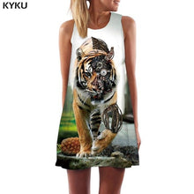 KYKU Brand Tiger Dress Women Animal Ladies Dresses Forest Sexy Leaf Vestido Sexy Green Party Womens Clothing Vintage Gothic Cool