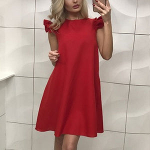 Women Fashion A-Line O-Neck Red Black Mini Dress 2019 New Summer Solid Color Ruffle Stitching Short Sleeve Bottoming Dresses