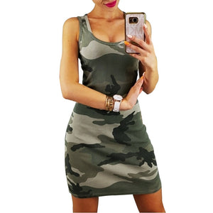 Summer Women Dress off shoulder Casual Vestidos Boho Dress Camouflage O-Neck Sexy High Waist Tank Dresses Vestidos Verano 2019