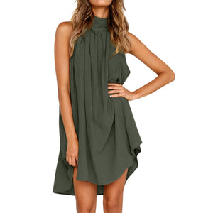 New Dress Summer Women Holiday Irregular Dress Ladies Beach Sleeveless Party Above Knee, Mini O-Neck Sleeveless Dress 2019