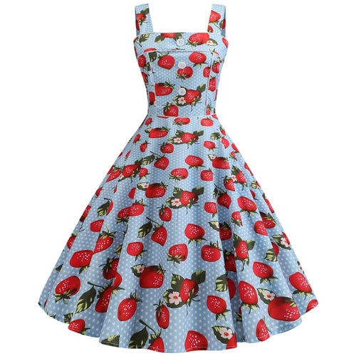 Strawberry Print Robe Femme Vintage Pin up 2019 Woman Strapless Summer Dresses Casual Swing Pinup Vestido Elegant Party Dress