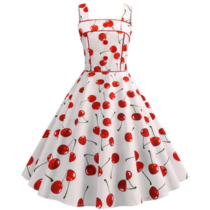 Cherry Print Vintage Dresses Summer 2019 Sleeveless Hepburn Style Big Swing 1950s 60s Rockabilly Dress Big Swing Pinup Vestido