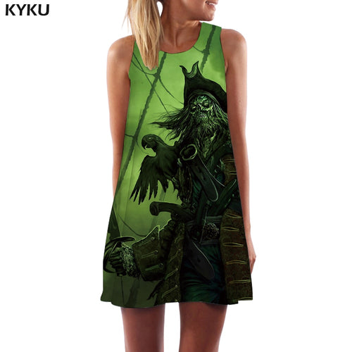 KYKU Skull Dress Women Pirate Boho War Sexy Metal Party Gothic Korean Style Womens Clothing Vintage Ladies Cool Fashion