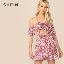 SHEIN Boho Red Peekaboo Tie Front Self Tie Wrap Ditsy Floral Straps Summer Dress Women Cutout Vacation Beach Style Short Dresses