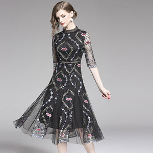 Elegant A-line Mesh Lace Dress 2019 Summer Women Half Sleeve Lips Flower Embroidery Hollow Out Sexy Party Midi Mesh Dress