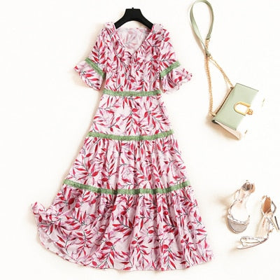 New Arrivals Summer Woman Dress 2019 Fashion Short Sleeve V Neck Floral Print Aline Casual Beach Chiffon Dress Female Vestidos