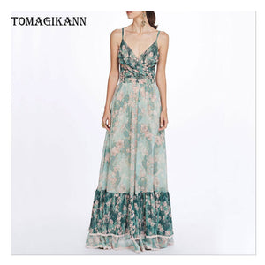 Sexy Print Floral Pleated Spaghetti Strap Deep V-Neck Sleeveless Maxi Dress 2019 Women Party Holiday Dresses