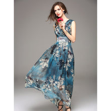 Summer Elegant Maxi Dress Beach Boho Floral Print Chiffon Sexy Robe Big Swing Casual Stylish High Waist Blue Long Dresses 2019