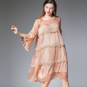 [EAM] 2019 New Spring Summer Round Neck Three-quarter Sleeve Perspective  Chiffon Split Joint Two Piece Dress Women Fashion JS85