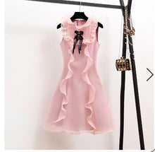 Oshangchaopin Women Summer Sweet Style Pink Party Dress  Elegant Sleeveless Bow Ruffles Slim A-Line Dress Vestidos Femme