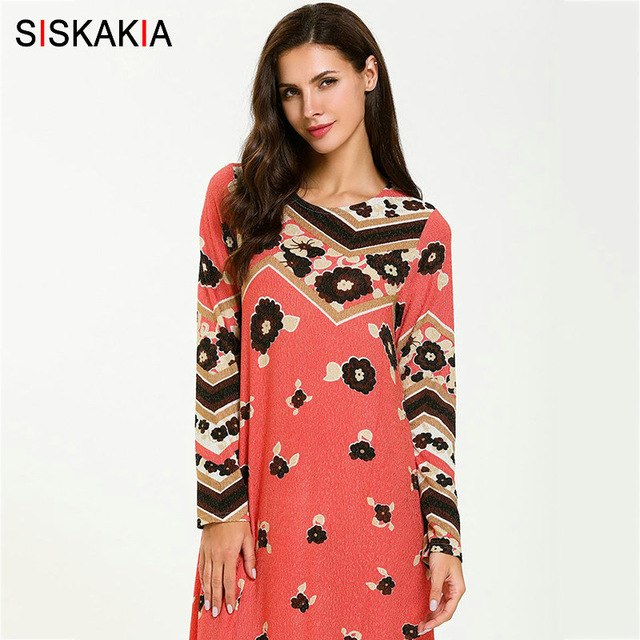 Siskakia Womens Casual Long Dress Elegant Round Neck Long Sleeve Maxi Dresses Rose Red Print Muslim Eid Adha Clothes Young lady