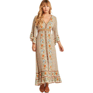 BOHO INSPIRED MAXI DRESS bohemian style 3/4 sleeve summer dresses belt wrap buttons front V-neck dress female duster beach