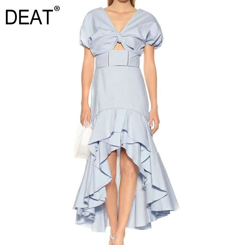 DEAT 2019 new summer fashion women clothes Sexy V Lead backless plaided ruffles high waist long dresses female WF34803L