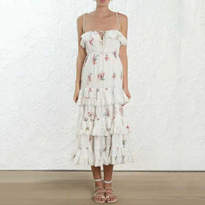 DEAT 2019 new summer fashion women clothes Vacation Lotus Leaf  Pleat Printing Camisole Cake Dress Long sexy vestido WF34500L