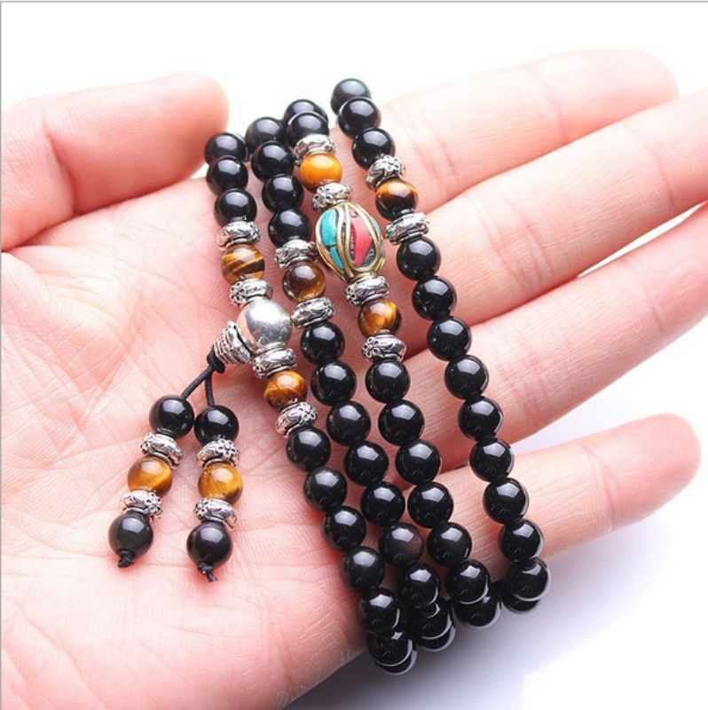 Obsidian and Tiger's Eye Mala Prayer Beads