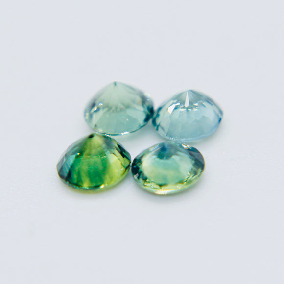 Natural Parti Sapphires Set | 4.7 mm | Round Cut | 4 Stones | Gemstones Parcel | LOOSE SAPPHIRES