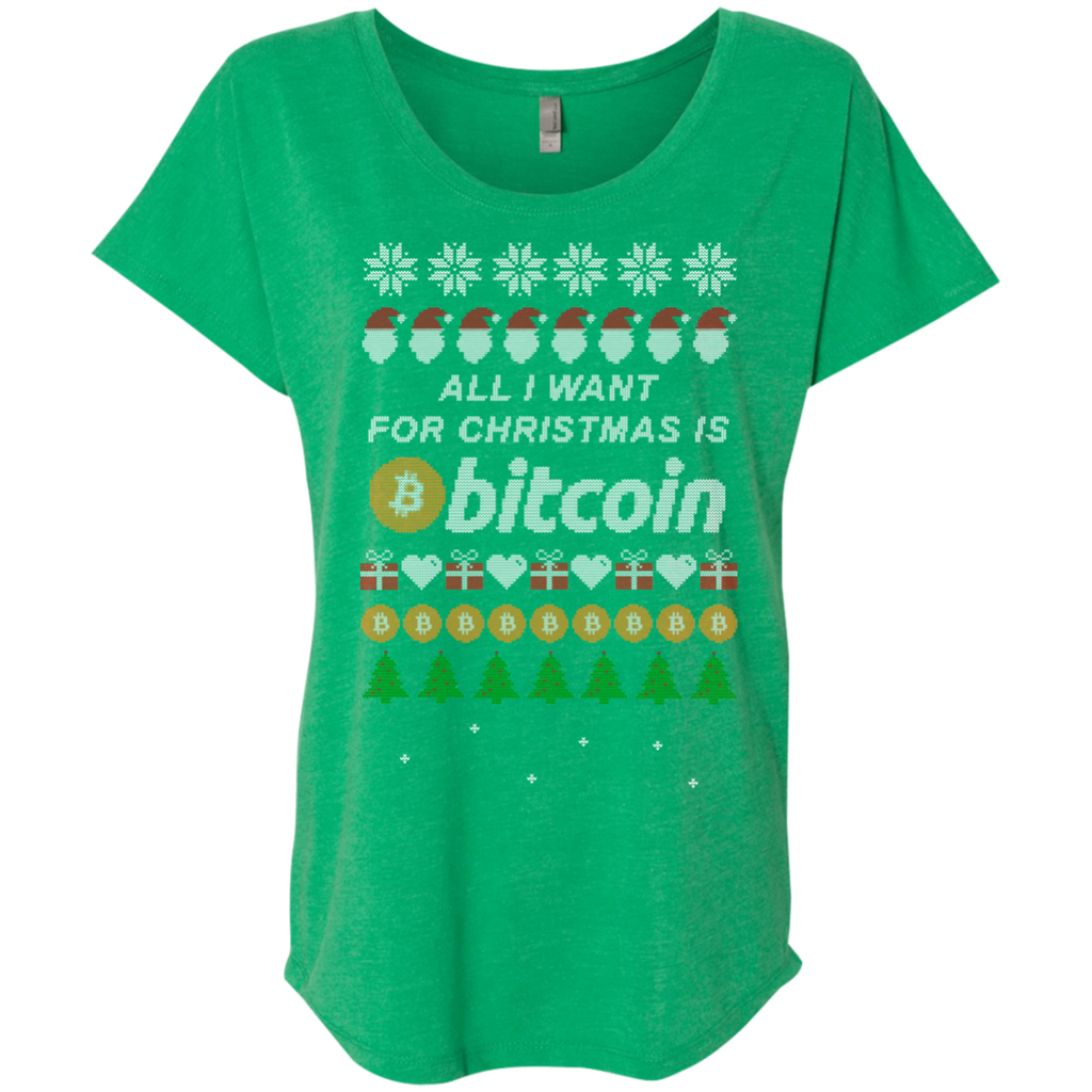 """All I want for Christmas is Bitcoin"" Women's Comfort-Flow TShirt - Bitcoin & Bunk"