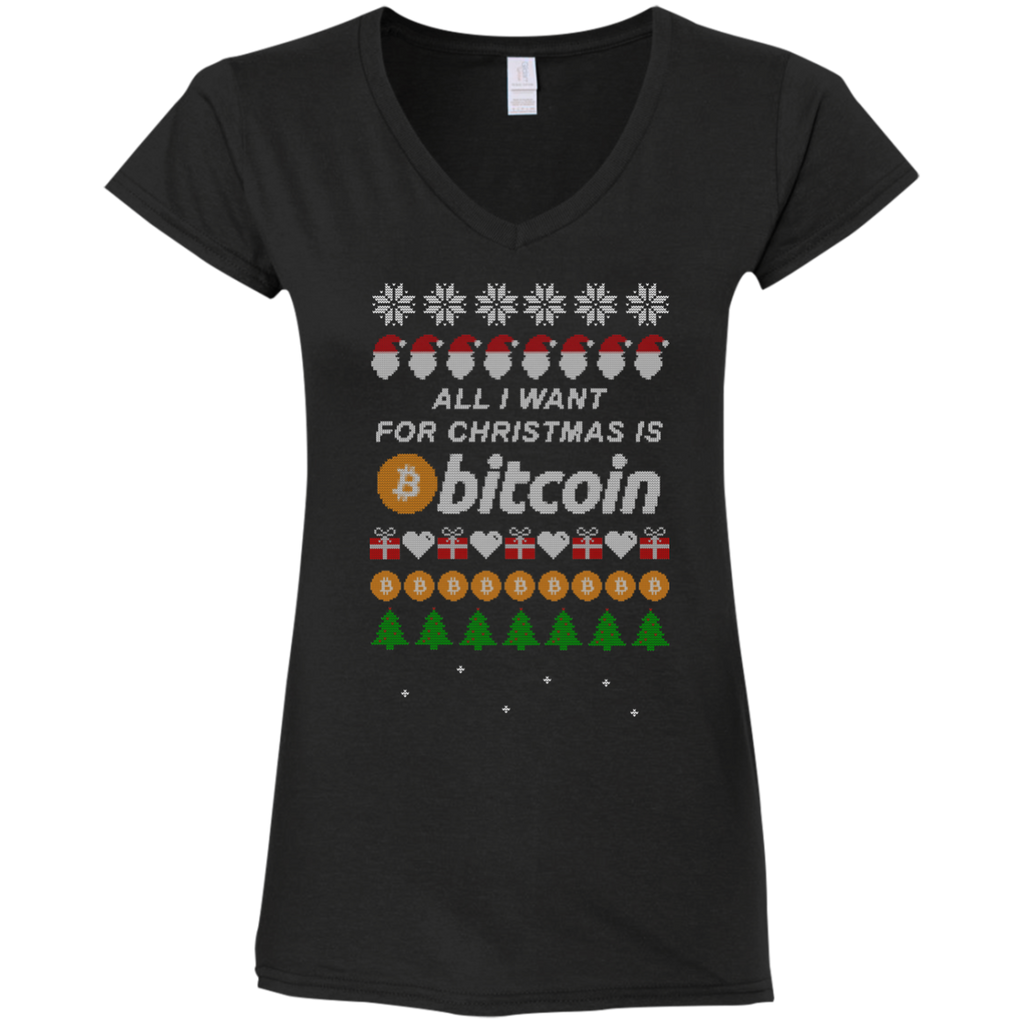 """All I want for Christmas is Bitcoin"" Women's Fitted V-Neck T-Shirt"