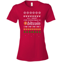 "Load image into Gallery viewer, ""All I want for Christmas is Bitcoin"" Women's T-Shirt"