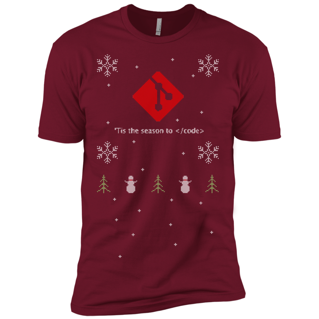 Git 'Tis The Season To Code Ugly Sweater Premium Christmas Holiday T-Shirt - Bitcoin & Bunk