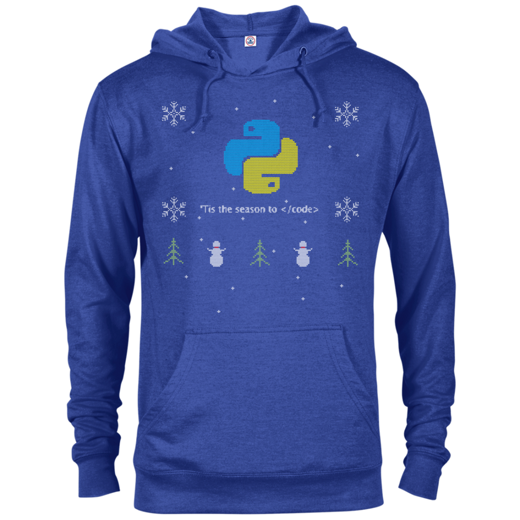 Python Programming 'Tis The Season To Code Ugly Sweater Holiday Comfort-Fit Hoodie - Bitcoin & Bunk