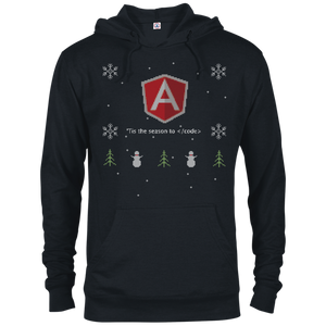 AngularJS Programming 'Tis The Season To Code Ugly Sweater Holiday Comfort-Fit Hoodie - Bitcoin & Bunk