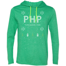 Load image into Gallery viewer, PHP 'Tis The Season To Code Premium Hooded Shirt - Bitcoin & Bunk