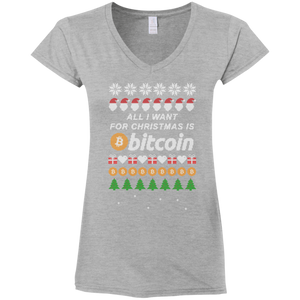 """All I want for Christmas is Bitcoin"" Women's Fitted V-Neck T-Shirt - Bitcoin & Bunk"
