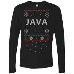 Java Programming Ugly Sweater Premium Long Sleeve Christmas Holiday Shirt - Bitcoin & Bunk