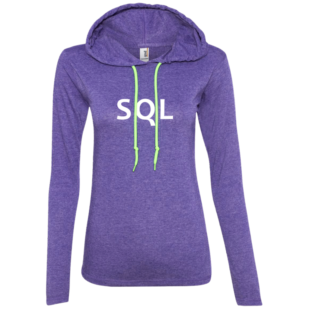 SQL Programming Authentic Women's Long Sleeve Hooded Shirt - Bitcoin & Bunk