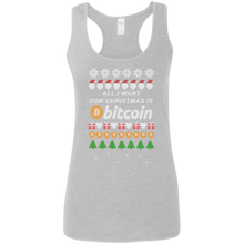 "Load image into Gallery viewer, ""All I want for Christmas is Bitcoin"" Women's Racerback Tank Top - Bitcoin & Bunk"
