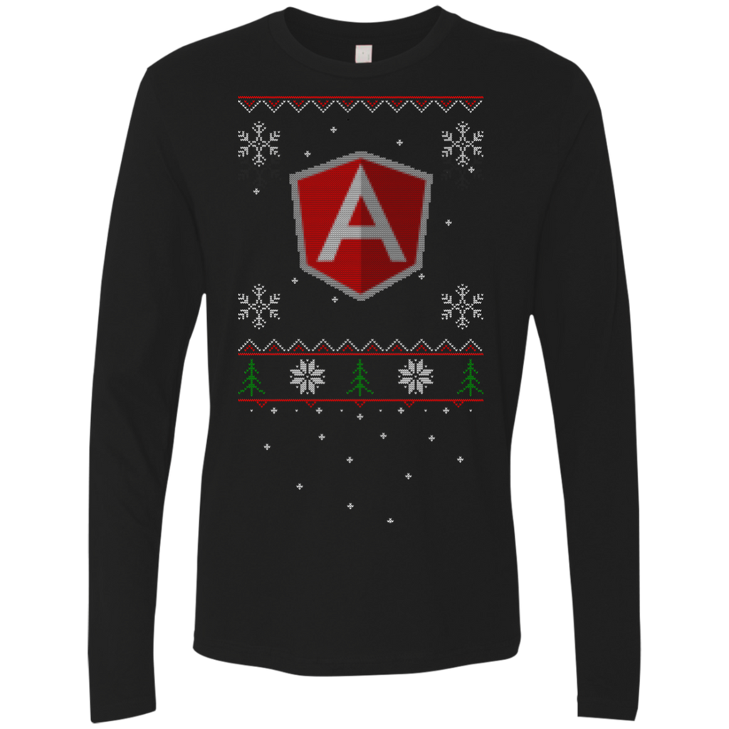 AngularJS Programming Ugly Sweater Premium Long Sleeve Christmas Holiday Shirt - Bitcoin & Bunk