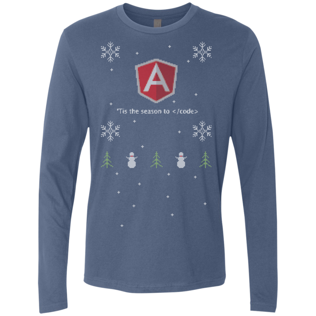 AngularJS 'Tis The Season To Code AngularJS Programming 'Tis The Season To Code Ugly Sweater Long Sleeve Premium Christmas Holiday Shirt - Bitcoin & Bunk