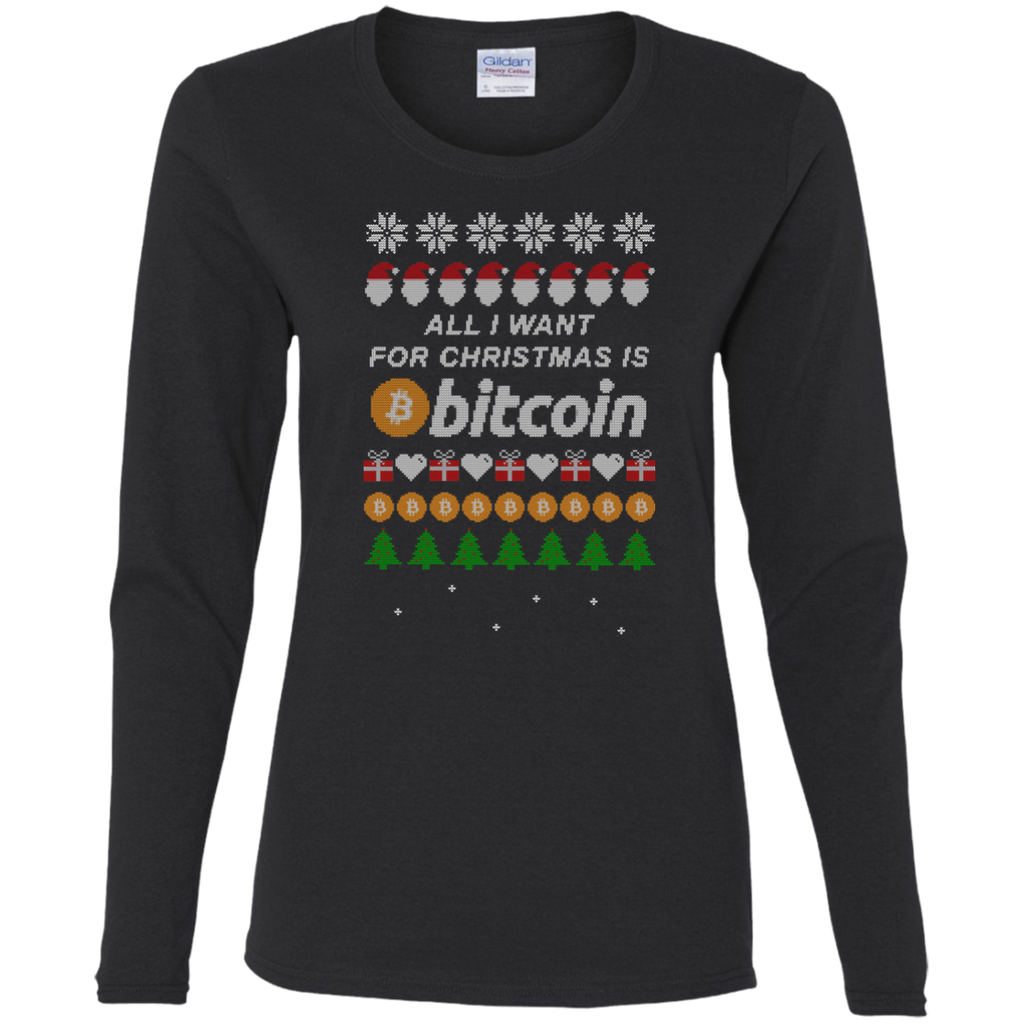 """All I want for Christmas is Bitcoin"" Women's Long Sleeve Shirt - Bitcoin & Bunk"