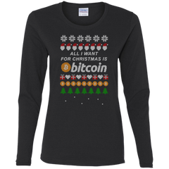 """All I want for Christmas is Bitcoin"" Women's Long Sleeve Shirt"