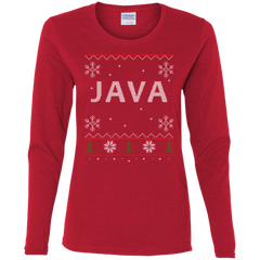 Java Programming Ugly Sweater Women's Long Sleeve Christmas Holiday Shirt - Bitcoin & Bunk