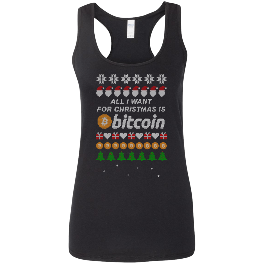 """All I want for Christmas is Bitcoin"" Women's Racerback Tank Top"