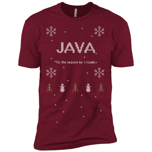 Java 'Tis The Season To Code Ugly Sweater Premium Christmas Holiday T-Shirt - Bitcoin & Bunk